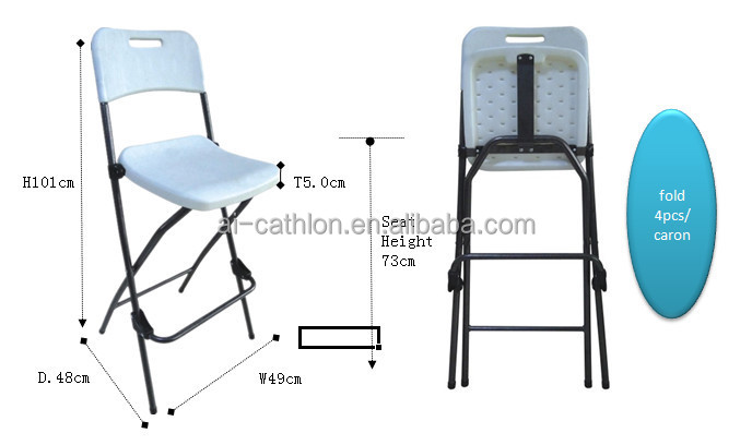 Wonderful Cheap Bistro High Top Folding Chair Bar Height Foldable Plastic Chair