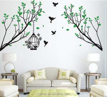 Newest Syene Custom Art Vinyl Birds Birdcage Leaves Xl Vinyl Decorative Family Tree Wall