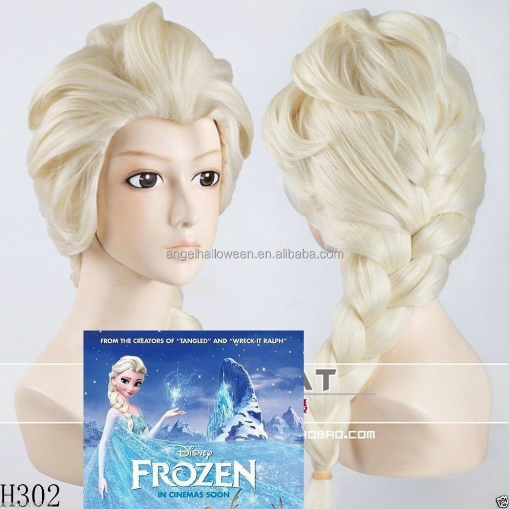 New Princess Snow Queen Frozen Elsa Blonde Weaving Braid Cosplay Wig