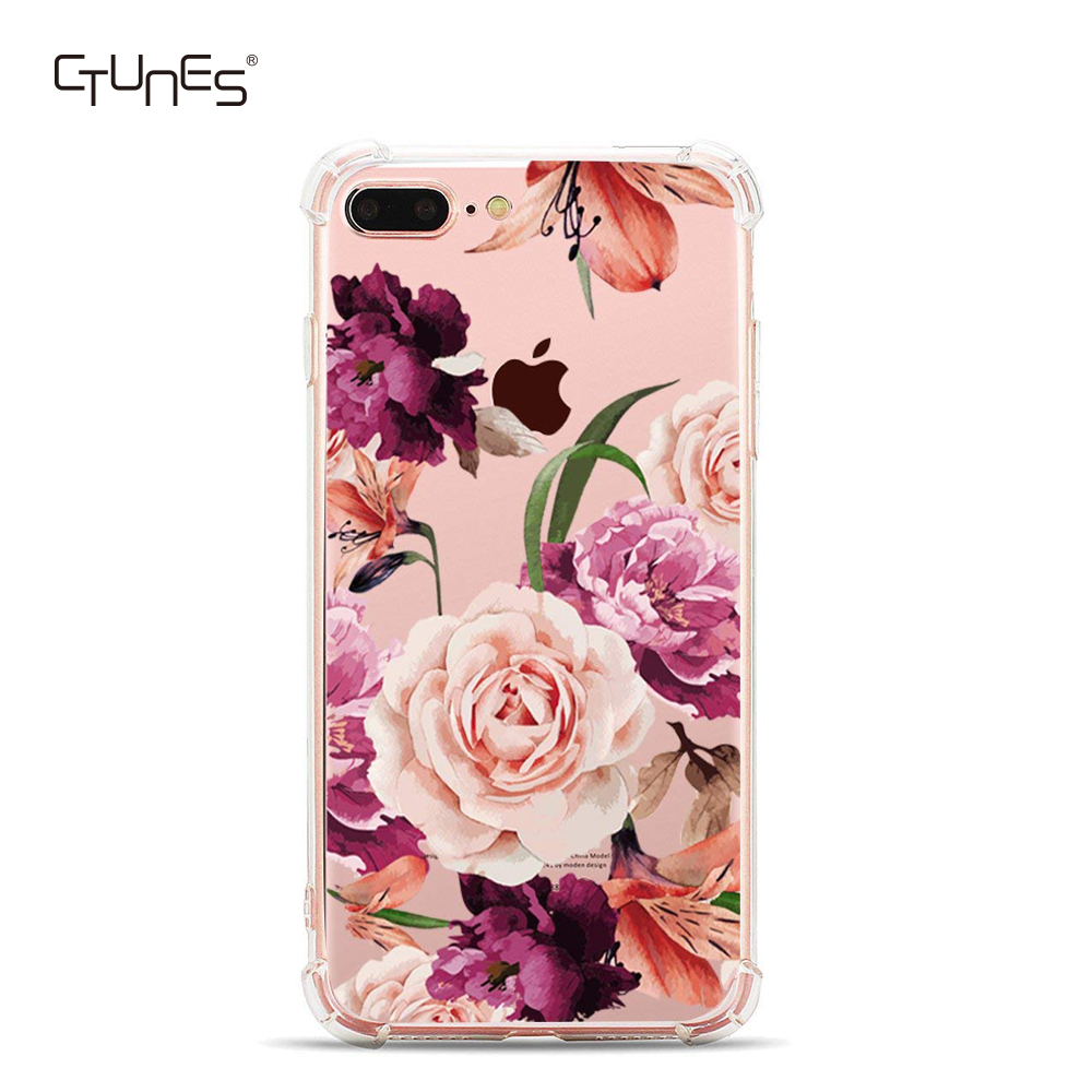 Clear Floral Pattern Air Cushion Shock Absorption Bumper Soft Flexible Anti-Scratch TPU Back Case for Apple <strong>iPhone</strong> 7 / 8 Plus