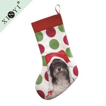 2016 new fancy christmas decor wholesale christmas stockings custom promotional digital printed dog animal christmas stocking