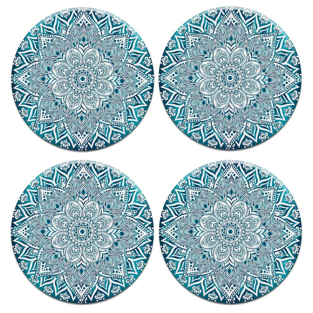 CARIBOU ROUND Ceramic Stone Coasters 4pcs Set, Mug Coffee Cup Place Mat Home Coasters for Hot & Cold Drinks, Teal & White Mandala