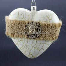 Frosted heart shaped glass ball christmas tree ornament
