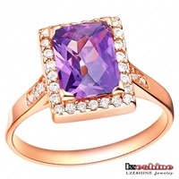 Elegant Fashion Austrian Crystal Ring Real 18K Rose Gold Plated Blue Color Zircon Engagement Rings For Women WX-RI0063