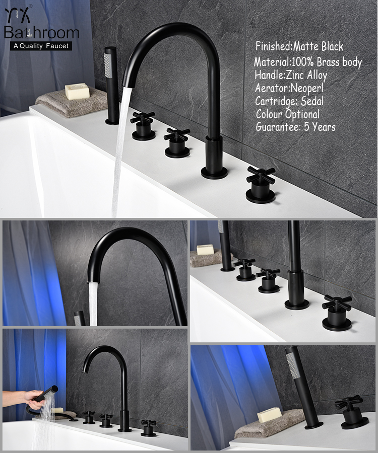 Kaiping faucet high quality copper matte black bathtub filler faucet and shower bathroom taps faucet bathroom tapware