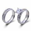 Fashion Couple Promise Ring Stainless Steel Color Prong Setting CZ Wedding Ring