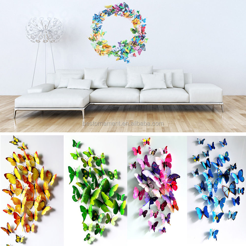 3d Butterfly Sticker Art Design Decal Wall Stickers Home Decor Room  Decorations - Buy Removable Butterfly Wall Stickers Home Decor,Magnetic  Butterfly