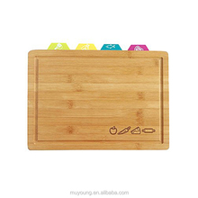 5 Piece Set Including Bamboo Cutting Board and 4 Plastic Cutting Boards