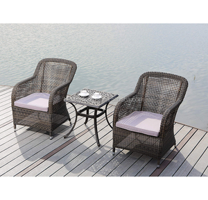 Outdoor rattan chairs 2 piece bistro Chair set with coffee table
