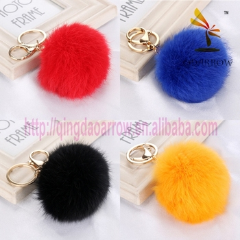 2016 Popular 8cm Fur Ball Pom Pom Keychain