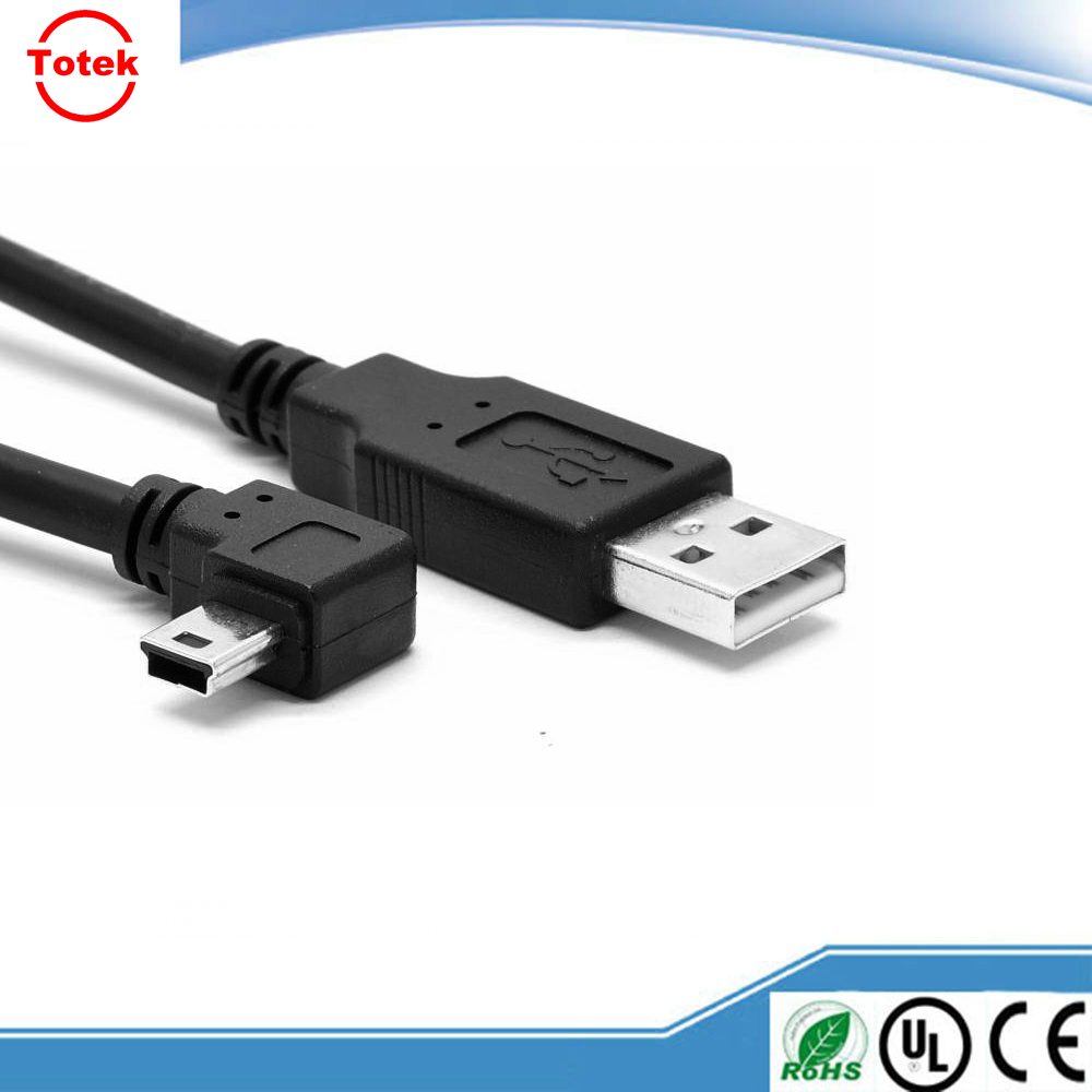 USB A male to male 90 degree right angle mini USB cabel date sync charger cable