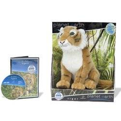 Planet Toys Planet Earth Large Plush Animals with unseen footage DVD Assortment - Tiger