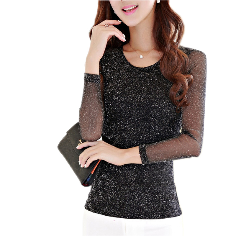 9d3349dd28071e Get Quotations · Women Tops And Blouses 2015 New Fashion Big Size T Shirts  Stretch Slim Tight Sequin Top