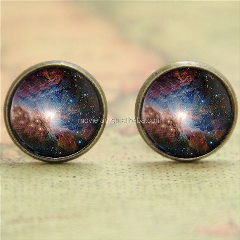 Orion Nebula earring, Bronze Astronomy Outer Space Stars Galaxy earring Space Gift glass photo earring