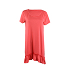 New Autumn Casual Style Pure Cotton Falbal Short Sleeved Dress