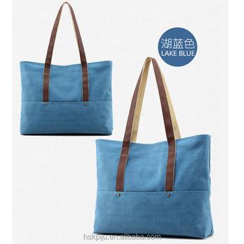New design fashion women s travel plain canvas zipper tote bag with leather  handles 6c332d672