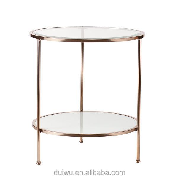 מפוארת זהב סלון שולחן קפה שולחן צד זכוכית מחוסמת טרנדי 3 שכבות ברורות DZ-52