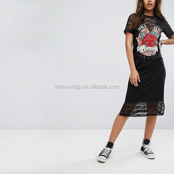 2017 Fashionable Girl Casual Loose Fit Short Sleeves Printed Pattern Tshirt Dressed Rock Printing Lace Insert Midi T Shirt Dress Buy Loose Long