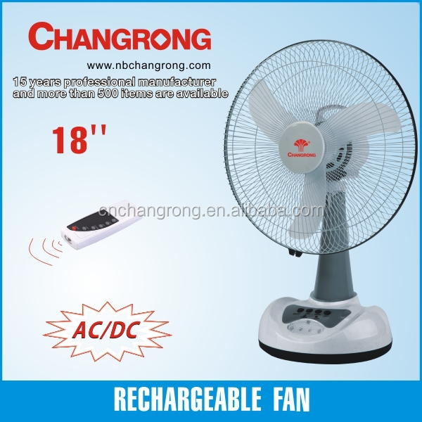 Rechargeable Ac/dc Battery Table Fan With Remote Control 18 Inch ...