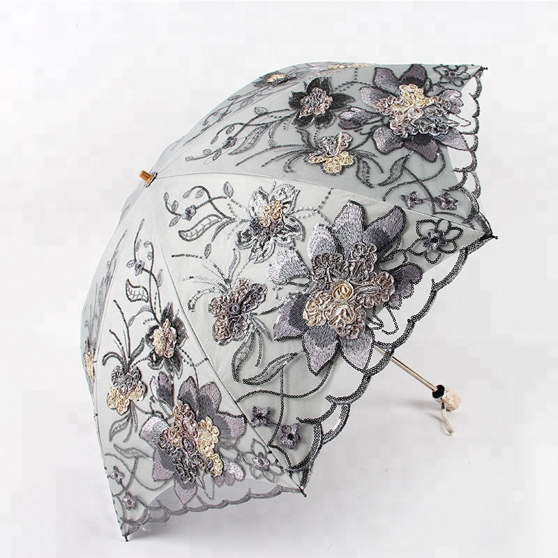 Top quality lace double layer anti-UV 2 fold umbrella