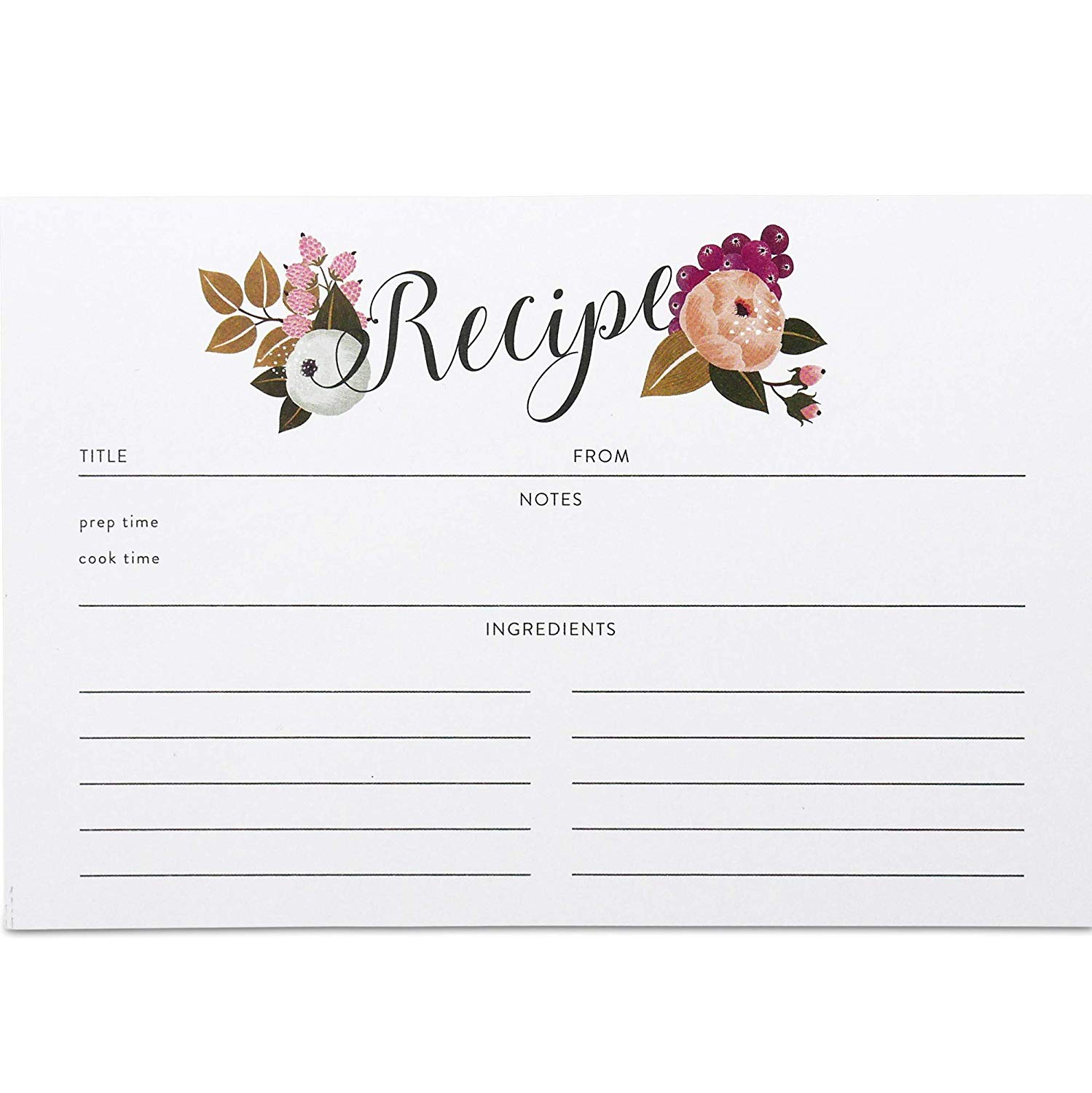 Polite Society Recipe Cards Refill Set 55 Double Sided Recipe Cards, 4x6 inches. Thick Card Stock by Polite Society