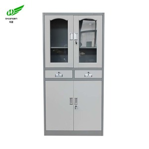 Office cabinets double glass door and metal door steel file cabinet / drawer cabinet