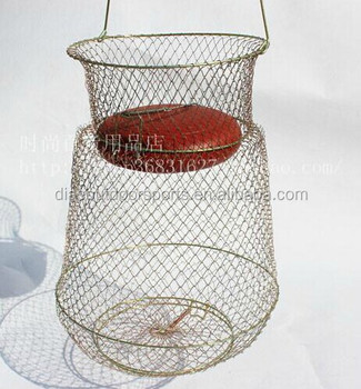 Floating fish basket fishing creel wire mesh net buy for Fish wire basket