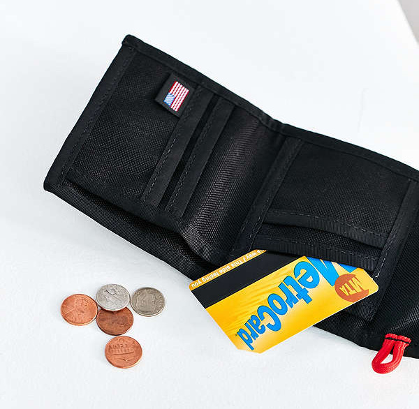 Sporty-cool style durable nylon snap wallet for man