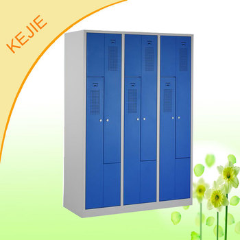Blue 2 Door Z Shape Metal Closet Students Used Storage Hanging Locker Doctor  Cloth Storage Cabinet