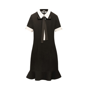 89d8f8468319d Women black slim dress lotus leaf hem round neck short sleeve dress for  women