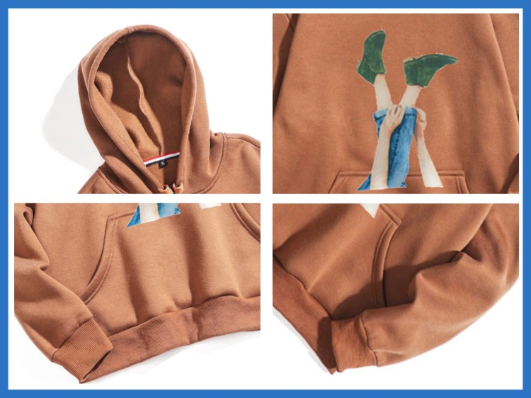 Casual Long Sleeve Drawstring Fall Pullover Printed  Polyester Fleece Fabric Hoodie
