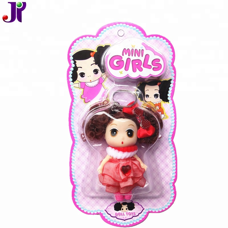 "NEWEST Vinyl 2.5"" Mini Girl Confused <strong>Doll</strong> With Keychain Toy"