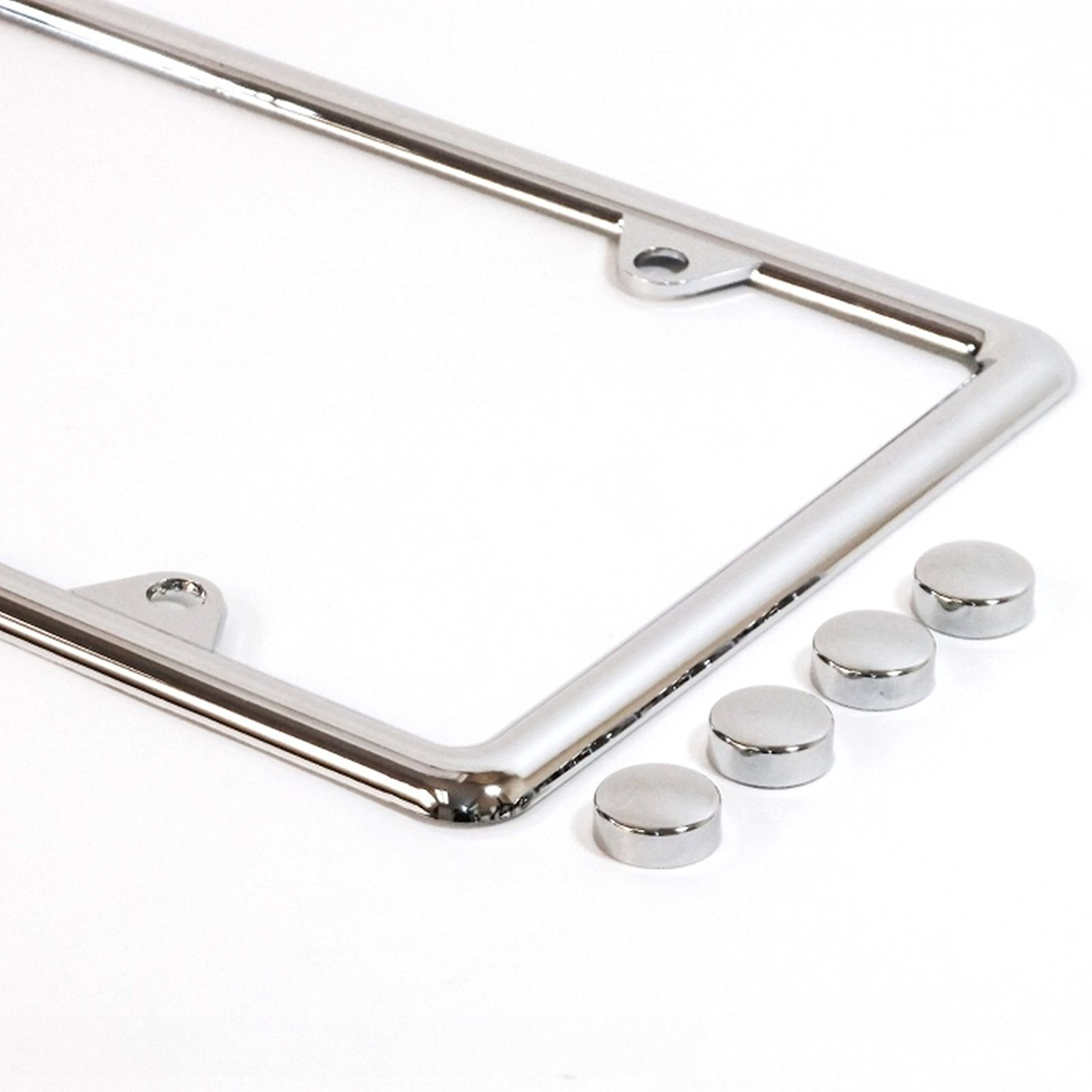 License Plate Frame Slim Chrome Plastic ABS Tag Holder with Matching Caps Car Truck Auto Cover