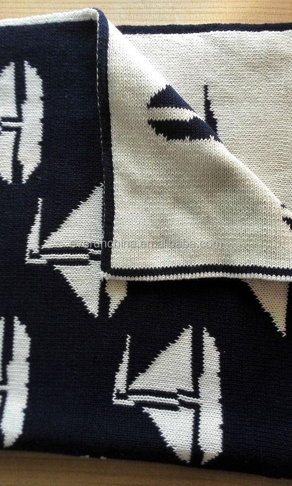 50db37 Cotton Knit Jacquard Blanket Sailboat Sailing Twin Side ...