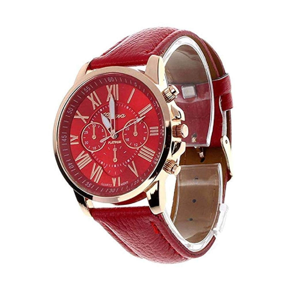 Women's Quartz Watches, Windoson Unique Analog Fashion Clearance Lady Watches Female Watches Casual Wrist Watches for Women,Round Dial Case Comfortable Faux (Red)