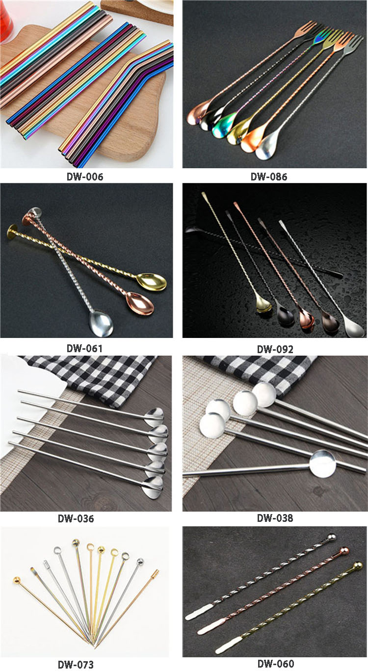 Flat tail bar spoon stainless steel cocktail stirrer