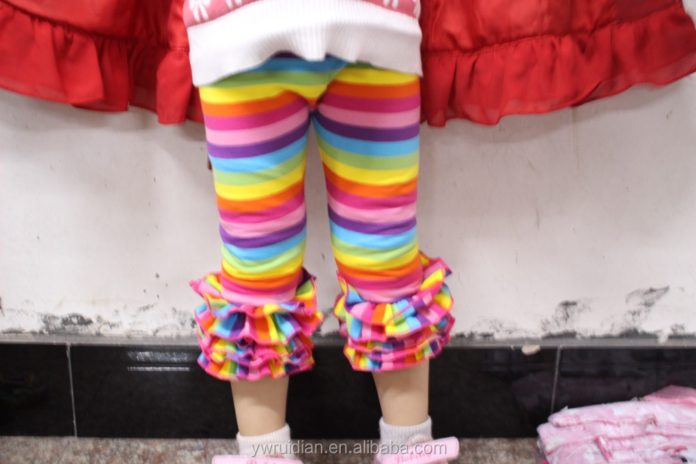 Girls high quality rainbow capris icing ruffle pants wholesale children top matching rainbow pants