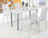Guangzhou wholesale modern white restaurant dining table and chair for 4 person(FOH-BC32)