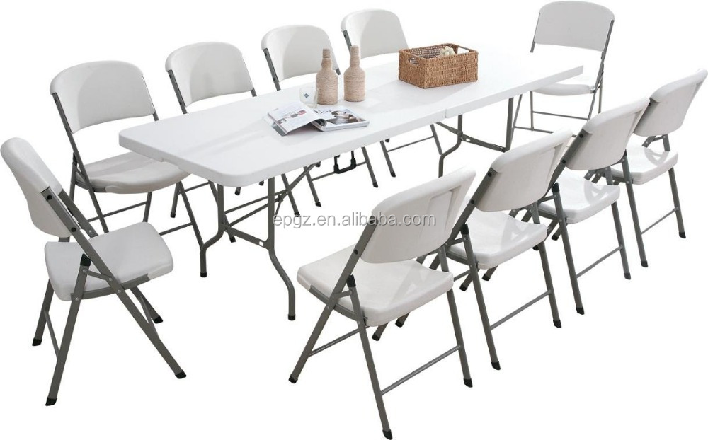 Outdoor Plastic White Folding Dining Table Chair For Wedding Buy Plastic Wh