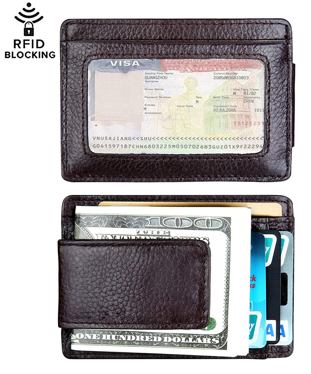 5371a7f57687 Buy Leather Magnetic Money Clip Slim Minimalist Front Pocket Wallet ...