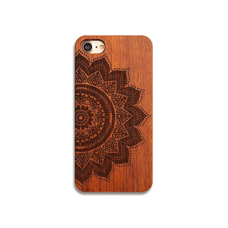 Mandala Wood Phone <strong>CASE</strong> for Iphone XS Hard Wood Phone Cover <strong>Case</strong> for Huawei P20 Lite Black