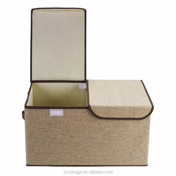 Large Foldable Linen Storage Box, Clothes Bed Quilt Sweater Organizer Box  With Lid