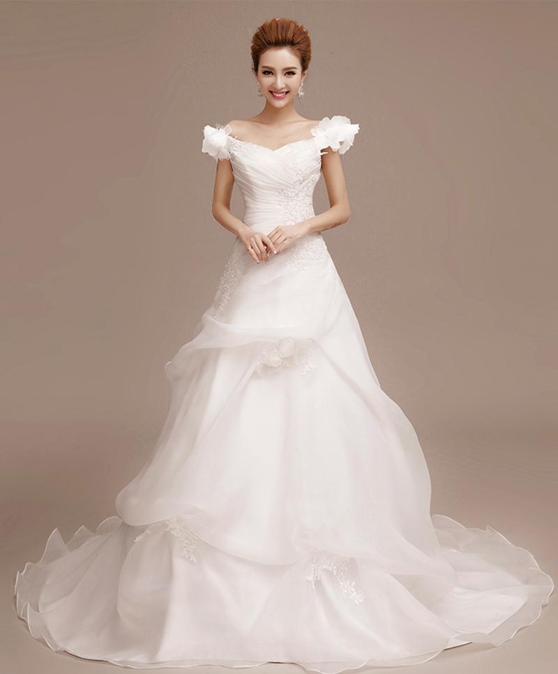 2015 New Elegant Full Long Sleeves Mermaid Wedding Dresses: 2015 New Elegant V Neck Short Sleeve Long Tail Wedding