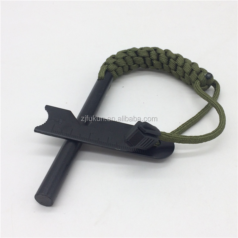 outdoors survival multifunctional tools paracord flint fire starter survival