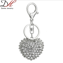 Daihe heart sharp rose and lace edge with crystal zinc alloy keychain