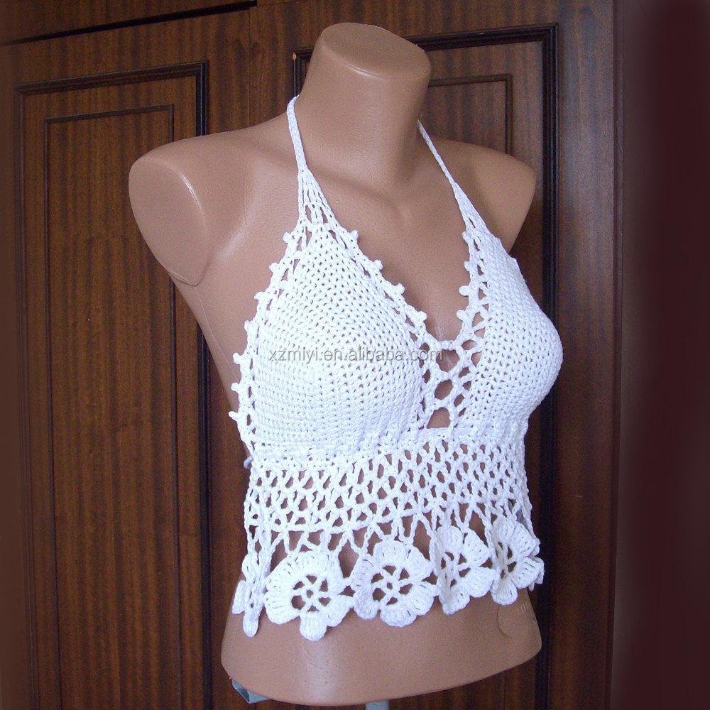 Hand Crochet Lace White Bikini Top Swimwear Swimsuit