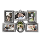 6 Openings Decorative Silver Plastic Vintage Collage Photo Frame