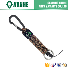 Braided Strong 550Paracord Keychain with Key Ring , carabiner, clip and mini-Compass