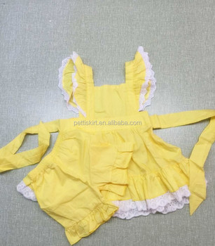 Persnickety 2018 Remakes Fall yellow Dress With Ruffle Bloomer Set children wholesale smocked dress