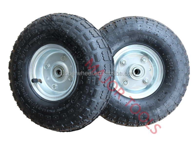 "10"" steel air pneumatic tires dolly wagon mower tiller wheels 4.10/3.50-4"